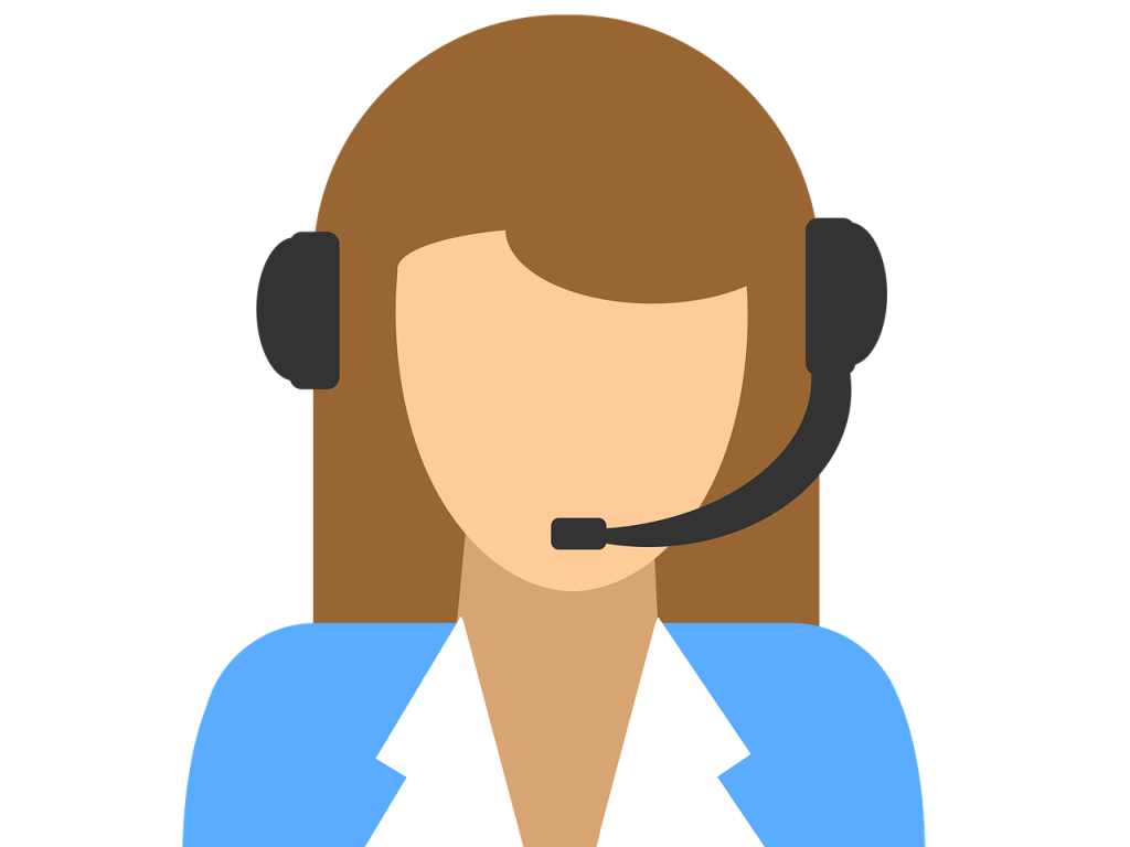 Animated avatar of a woman with headsets